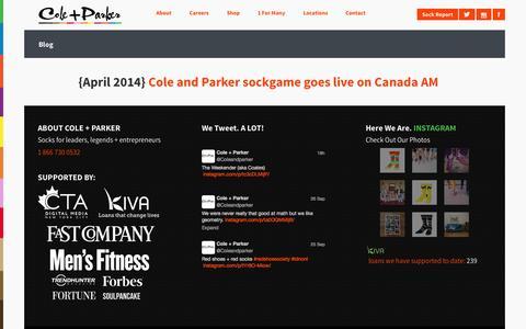 Screenshot of Blog coleandparker.co - Cole And Parker - Bold socks that start businesses - Blog - captured Sept. 30, 2014