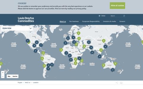 Screenshot of Locations Page ldcom.com - Louis Dreyfus Commodities :: Locations - captured Feb. 1, 2016