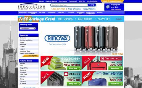 Screenshot of Home Page innovationluggage.com - Online Luggage | Samsonite | Travelpro | Rimowa |  TUMI | Delsey | Eagle Creek - captured Sept. 30, 2014