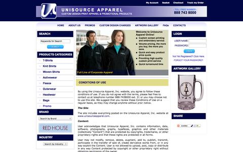 Screenshot of Terms Page unisourceapparel.com - Unisource Apparel : Custom Designed Apparel & Promotional Products - captured Oct. 27, 2014