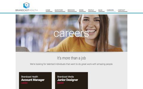 Screenshot of Jobs Page brandcasthealth.com - Careers | Digital Healthcare Agency - Brandcast Health - captured Nov. 14, 2015