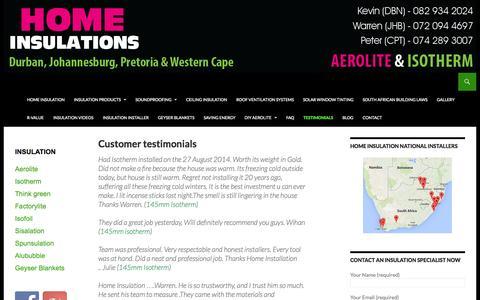 Screenshot of Testimonials Page homeinsulations.co.za - Testimonials | Customer Reviews | Insulation Experts - captured Sept. 19, 2014
