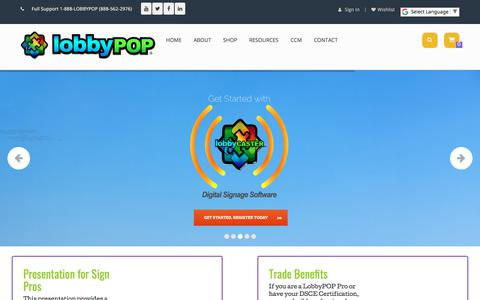 Screenshot of Home Page lobbypop.com - LobbyPOP Digital Sign Systems – Dynamic Sign Systems to Send in the WOW! - captured Feb. 12, 2018