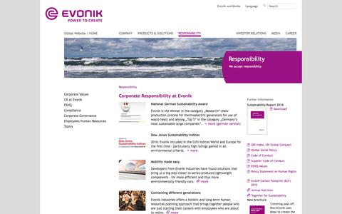 Corporate Responsibility - Evonik Industries - Specialty Chemicals