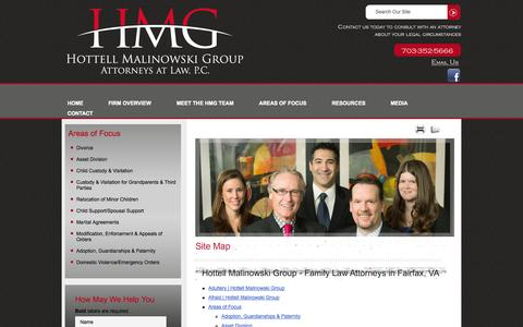 Screenshot of Site Map Page hottell.com - Site Map | Hottell Malinowski Group, P.C. | Fairfax, Virginia - captured Oct. 3, 2014