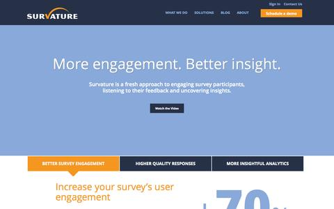 Screenshot of Home Page survature.com - Survature - Learn What Matters - captured Jan. 26, 2015
