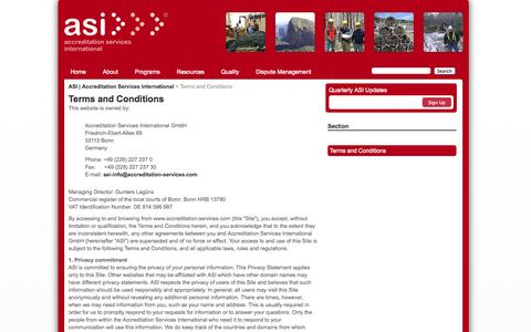 Screenshot of Terms Page accreditation-services.com - Terms and Conditions | ASI | Accreditation Services International - captured Oct. 4, 2014