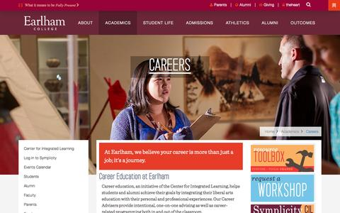 Screenshot of Jobs Page earlham.edu - Careers | Earlham College - captured Oct. 21, 2015