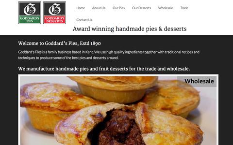 Screenshot of Home Page goddardspies.com - Goddard's Pies | Manufacturers and suppliers of handmade quality pies and desserts - captured Oct. 2, 2014