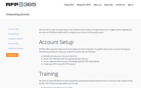 Screenshot of Services Page rfp365.com - RFP365 | Onboarding Services - captured July 18, 2018
