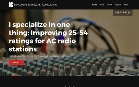 Screenshot of Home Page garyberk.com - Radio Consultant - Berkowitz Broadcast Consulting - captured July 17, 2017