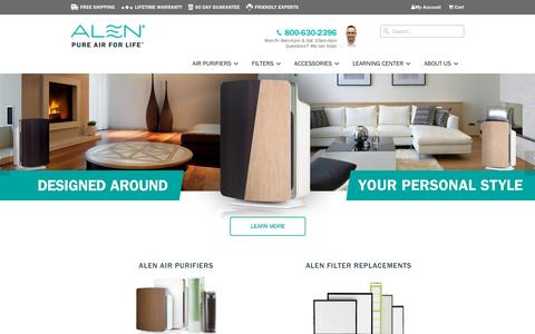 Screenshot of Home Page alencorp.com - Alen Air Purifiers and Filters | Helping You Live Better With Pure Air - captured Oct. 14, 2015