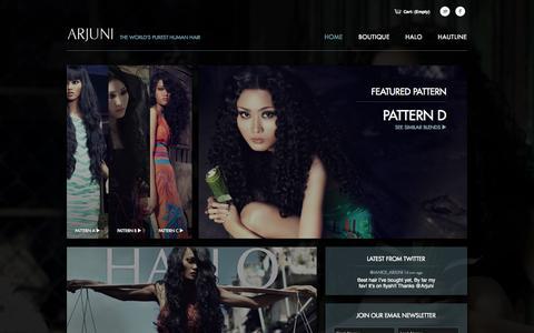 Screenshot of Home Page arjuni.com - Arjuni Boutique - captured Sept. 30, 2014