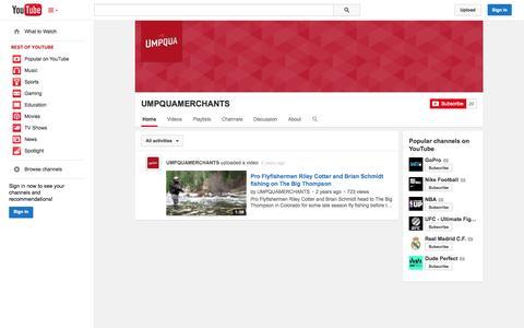 Screenshot of YouTube Page youtube.com - UMPQUAMERCHANTS  - YouTube - captured Oct. 23, 2014