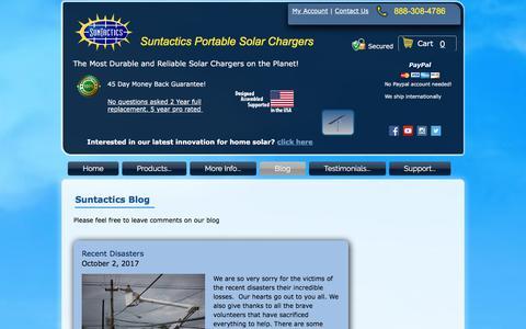 Screenshot of Blog suntactics.com - Suntactics - Portable Solar Chargers   Reliable-Durable-Compact   Blog - captured Nov. 5, 2017