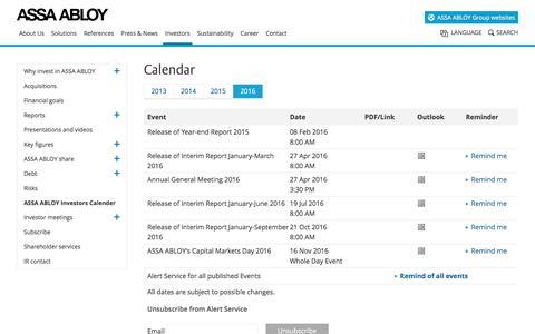 Screenshot of assaabloy.com - ASSA ABLOY Investors Calender - captured March 29, 2016