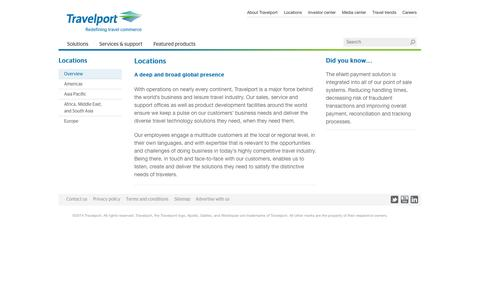 Screenshot of Locations Page travelport.com - Travelport: leading travel commerce platform | Overview - captured Sept. 25, 2014
