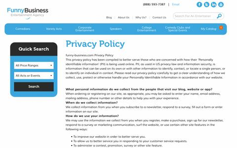 Screenshot of Privacy Page funny-business.com - Privacy Policy - Funny Business Agency - captured Nov. 25, 2016