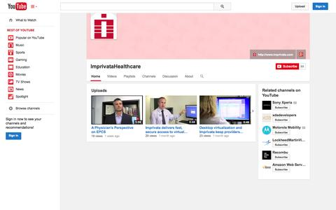 Screenshot of YouTube Page youtube.com - ImprivataHealthcare  - YouTube - captured Oct. 22, 2014