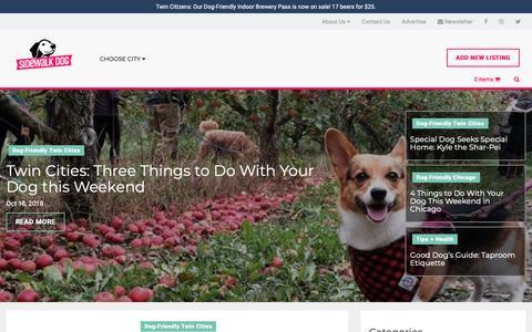 Screenshot of Press Page sidewalkdog.com - Dog-Friendly News, Articles, and Inspiration | Sidewalk Dog - captured Oct. 18, 2018