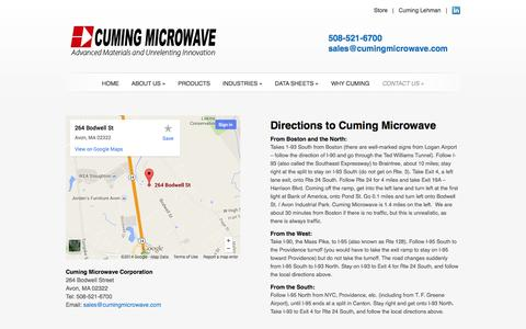 Screenshot of Maps & Directions Page cumingmicrowave.com - Directions to Cuming Microwave | Cuming Microwave Corporation - captured Oct. 3, 2014