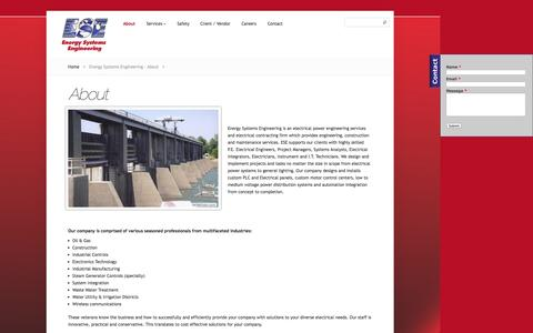 Screenshot of About Page ese-corp.com - Energy Systems Engineering - About - captured Oct. 2, 2014