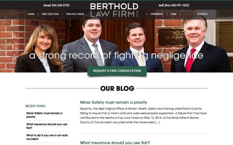 Screenshot of Blog law-wv.com - Blog | Berthold Law Firm - captured Oct. 5, 2014