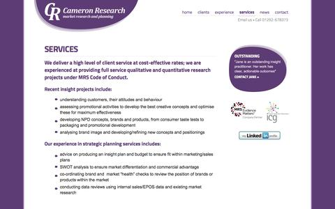 Screenshot of Services Page cameronresearch.co.uk - Services - Cameron Research - Market research and planning - captured Sept. 27, 2014