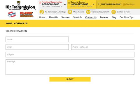 Screenshot of Contact Page mrtransmission.com - Contact Us - Mr. Transmission Brands - captured Sept. 20, 2018