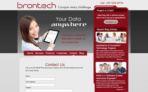 Screenshot of Contact Page brontech.com - Contact Us | Brontech LLC - Software Solutions - captured Oct. 5, 2014