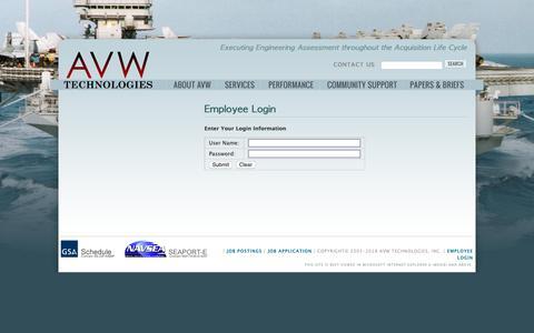 Screenshot of Login Page avwtech.com - Employee Login | AVW Technologies, Inc. - captured Oct. 2, 2018
