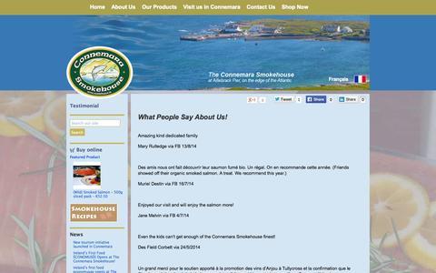Screenshot of Testimonials Page smokehouse.ie - Testimonial | Connemara Smokehouse • Finest Irish Atlantic Smoked Salmon, Smoked Tuna, Smoked Seafood •Connemara, Co. Galway, Ireland - captured Oct. 2, 2014
