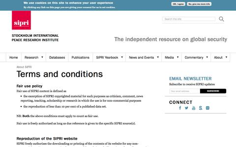 Screenshot of Terms Page sipri.org - Terms and conditions | SIPRI - captured May 25, 2017