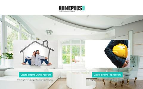 Screenshot of Signup Page homeprosguide.com - Select your registration type | Home Pros Guide Magazine - captured Dec. 8, 2018