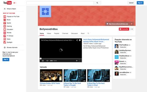 Screenshot of YouTube Page youtube.com - BollywoodInBox  - YouTube - captured Oct. 23, 2014