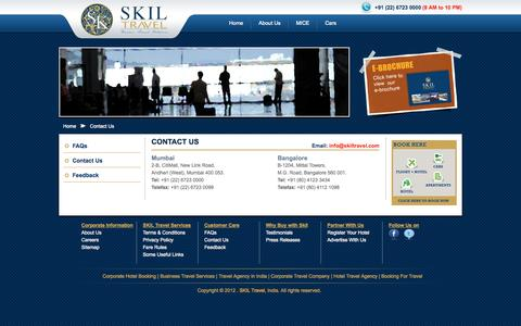 Screenshot of Contact Page skiltravel.com - Contact - SKIL Travel Business & Corporate Travel Agency India - captured Oct. 3, 2014