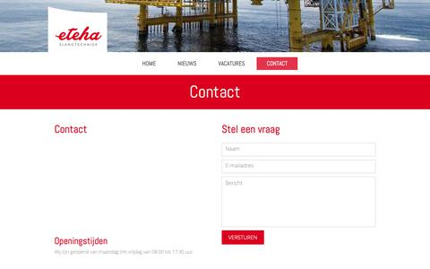 Screenshot of Contact Page eteha.nl - Contact - eteha - captured Sept. 29, 2018