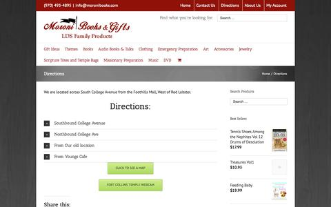Screenshot of Maps & Directions Page moronibooks.com - Moroni Books & Gifts   –  Directions - captured Oct. 26, 2014