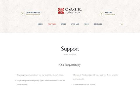 Screenshot of Support Page cair.gr - Support – Luxury Wine - captured May 13, 2017
