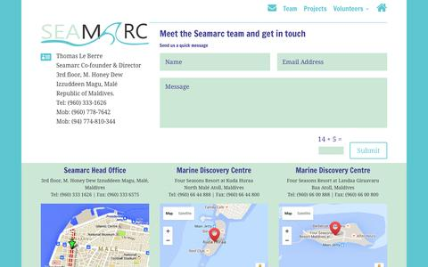 Screenshot of Team Page seamarc.com - Seamarc - contact us, and meet our team of marine biologists - captured July 23, 2016