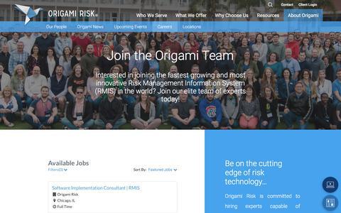 Screenshot of Jobs Page origamirisk.com - Origami Risk - Risk Management Technology Careers - captured Sept. 20, 2018