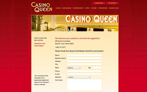 Screenshot of Contact Page casinoqueen.com - Casino Queen - Home of the Loosest Slots - Contact - captured Oct. 2, 2014