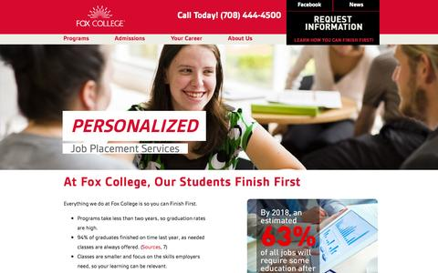 Screenshot of Home Page foxcollege.edu - Fox College: Admissions to Associate Degree and Diploma Programs in Business,  Technology, Health Care - captured Sept. 30, 2014