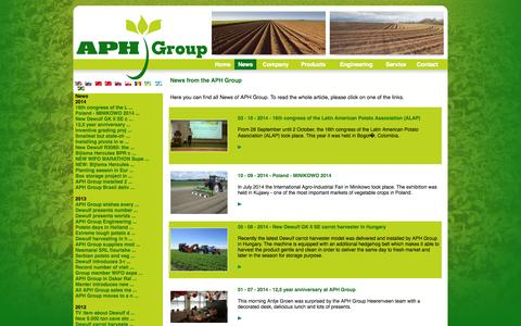 Screenshot of Press Page aph.nl - APH GROUP is a group of first class machinery  manufacturers, which offer a complete  range of equipment for potato, onion and  carrot production. - captured Oct. 10, 2014