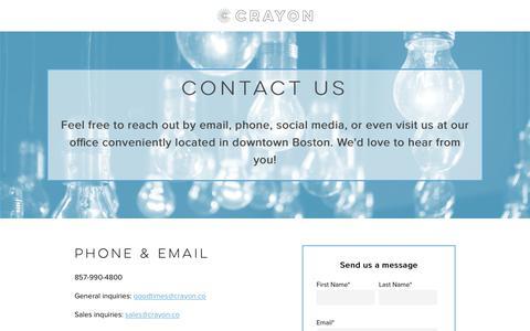 Screenshot of Contact Page crayon.co - Crayon Marketing Intelligence Company | Contact Crayon - captured June 11, 2018