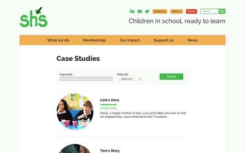 Screenshot of Case Studies Page schoolhomesupport.org.uk - School-Home Support - captured Dec. 22, 2015