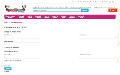 Screenshot of Signup Page wonderkidsindia.com - Create New Customer Account - captured Oct. 4, 2014