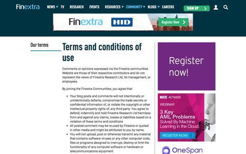 Screenshot of Terms Page finextra.com - Finextra Research: Latest financial technology news, analysis, interviews and features. - captured Aug. 13, 2018
