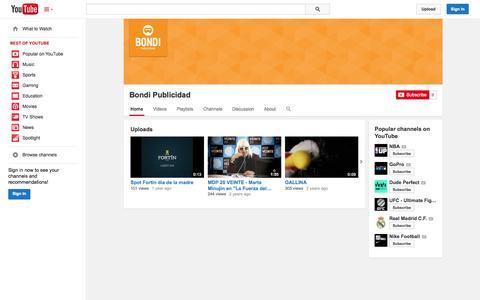 Screenshot of YouTube Page youtube.com - Bondi Publicidad  - YouTube - captured Oct. 25, 2014