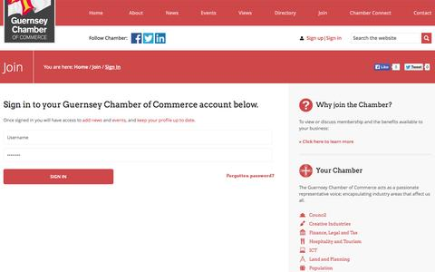 Screenshot of Login Page guernseychamber.com - Sign In | Guernsey Chamber of Commerce - captured Nov. 2, 2014
